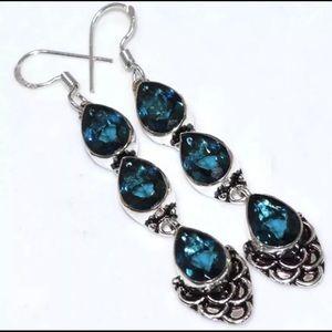 """Blue Quartz Silver Earrings 2.9"""" Dangle Hook Style"""